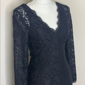 Adrianna Papell Evening Black Lace Dress S…